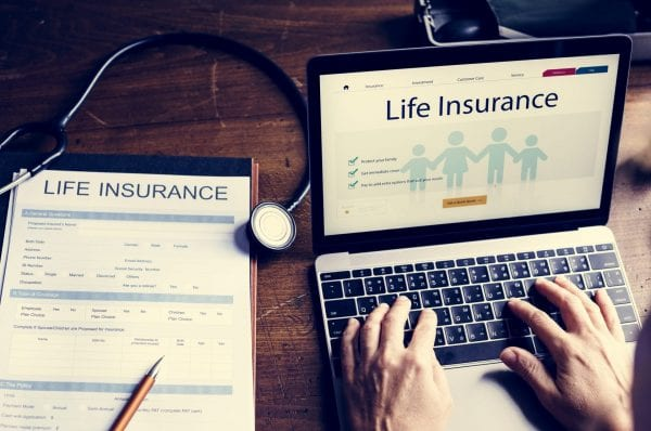 Life insurance plan on computer laptop screen